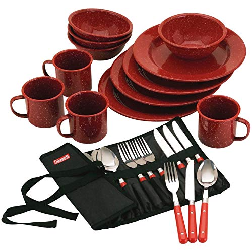 Coleman 24-Piece Enamel Dinnerware Camping Kit