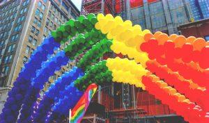 Rainbow made of balloons