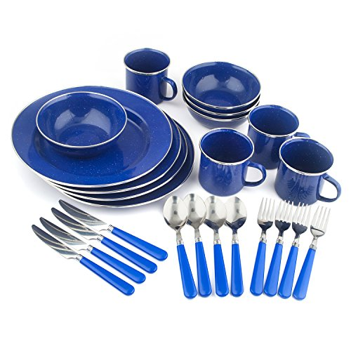 STANSPORT Deluxe 24-Piece Enamel Tableware Kit