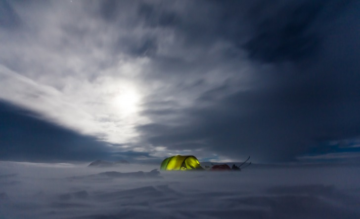 Tent on a snow