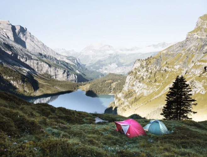 Campers in the mountains