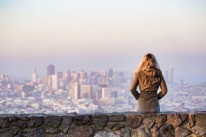 Blonde looking at San Francisco view