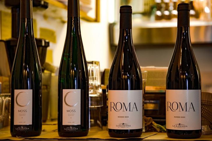 Four bottles of Italian wine