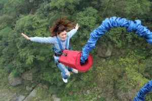 Female bungee jumper