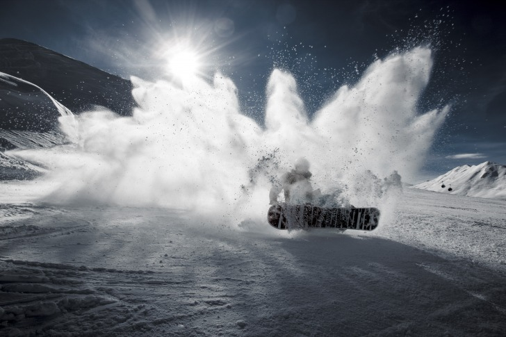 Snowboarding snow waves
