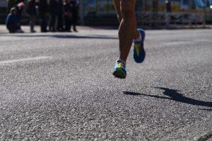 Marathon runner's legs