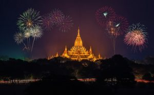 Fireworks in Southeast Asia temple