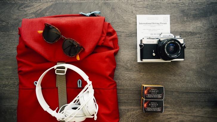 Backpack headphones camera