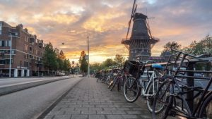 Amsterdam bicycles and windmill