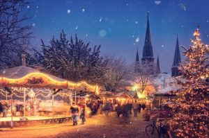 Illuminated snowy Christmas market