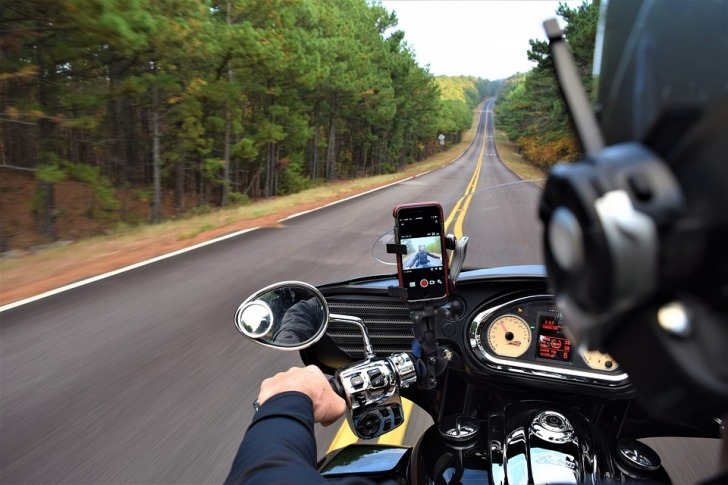 View on the road from the motorcycle