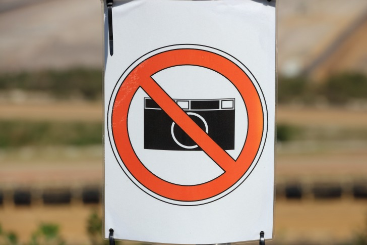 Camera prohibited sign