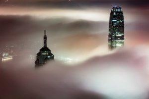 Foggy skyscrapers in Hong Kong