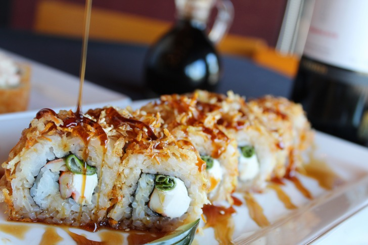 Soy sauce over sushi