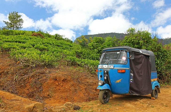 Blue tuk-tuk off the beaten path