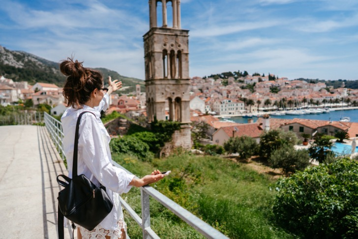 overlooking small town in Croatia
